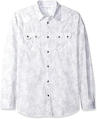 Calvin Klein Jeans Men's Long Sleeve Retro Palm Print Button Down Shirt