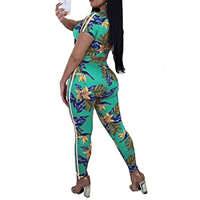 SCORP Women Short Sleeve Floral Print Drawstring Crop Top and Skinny Long Pants 2 Piece Outfits Tracksuit