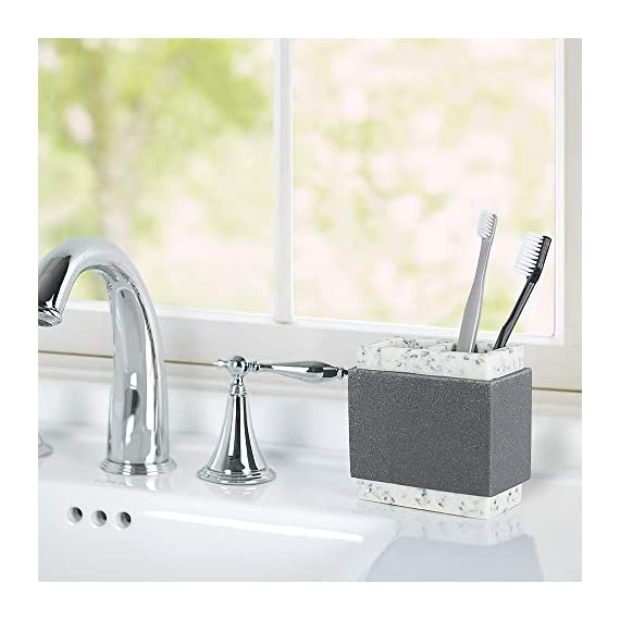 Allure Home Creation Marcello Stone 4-Piece Bathroom Accessory Set- 1 Lotion Pump, 1 Toothbrush Holder, 1 Soap Dish and 1Tumbler -  - bathroom-accessory-sets, bathroom-accessories, bathroom - 41lE2P4IfAL. SS570  -