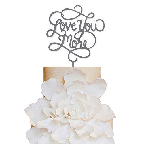 Sugar Yeti Brand Made in USA Cake Toppers Love you More Wedding Cake Toppers Wedding Decoration Acrylic Cake Topper for Special Events