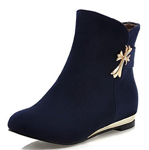 Allhqfashion Mujeres Low-top Solid Pull-on Redondo Cerrado Botas Low-heels Azul