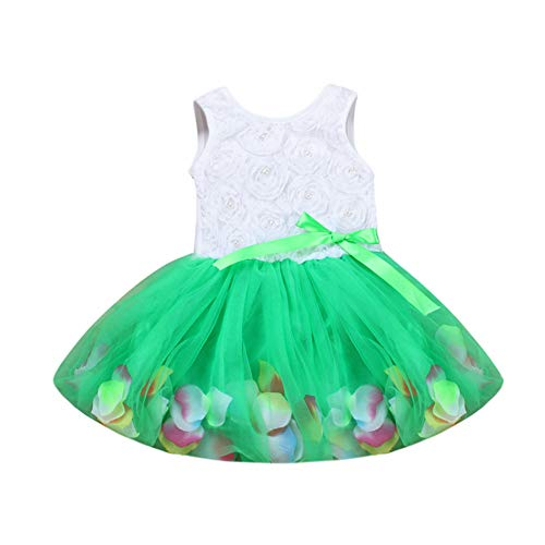 Bow Dresser Knobs,Toddler Infant Bowknot Tutu Petals Tulle Dresses Baby Girls Flower Gown Outfits,Baby Clothing,24M Green (Design Flower Petal Knob)