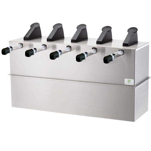 Server Products SE-5DI-07070 Express Pouched Condiment Station, (5) 07794 Pumps and Drop-In Base, (5) 1-1/2 gal, 16 mm Capacity, Black/Stainless Steel (Server Pump Express)