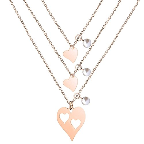 BNQL Rose Gold Mother Daughter Heart Cutout Necklace Set Pearl (Cutout 2 Heart Necklace) by BNQL (Image #5)