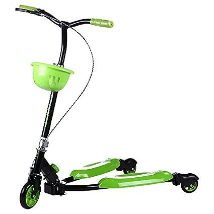 XWAN Euro American Patineta Scooter Carrito De Niño, Niño Pedales, Portable,Verde