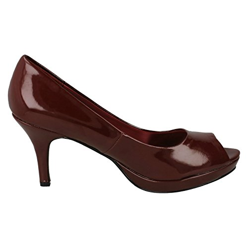 Spot On Ladies Peeptoe Court Heels Burgundy UWUE7T63p