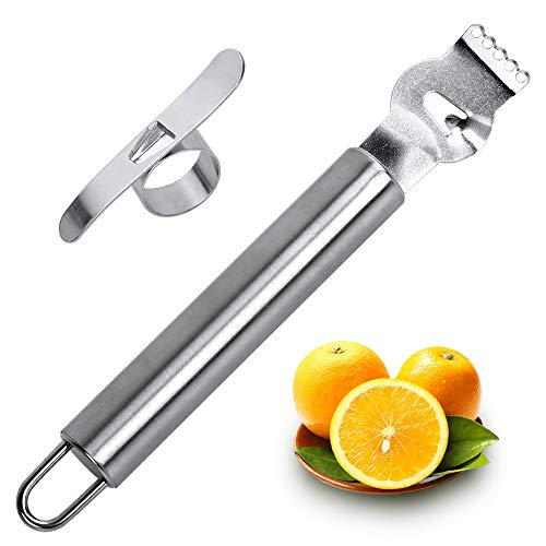 - Choppie Zester, Sturdy Metallic Combination Lemon Zester for Kitchen, Durable Bar Channel Knife with Hanging Loop and 5 Sharp Holes, Heavy Duty Stainless Steel Citrus Twist Peeler Orange Peeler Set