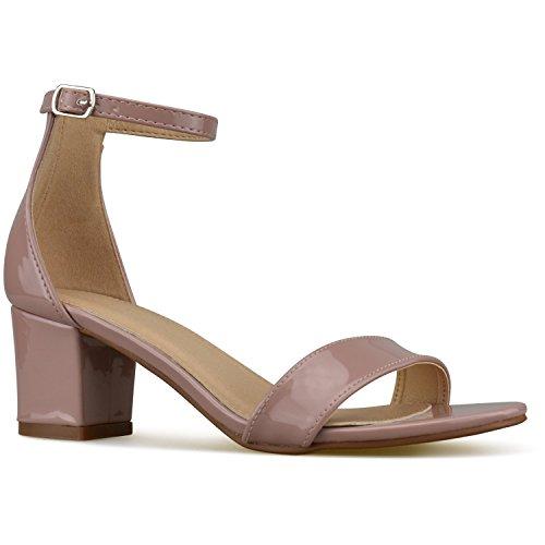 Bella Marie Women's Strappy Open Toe Block Heel Sandal, Dusty Rose Patent, Size 8