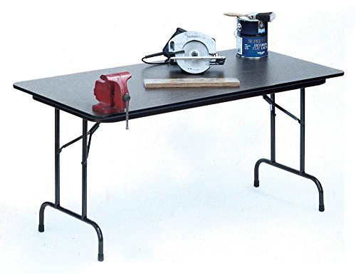 High Pressure Folding Table in Black Granite (30 in. x 72 in./Med Oak)