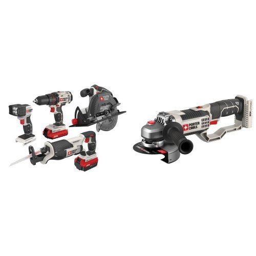 Porter-Cable PCCK614L4 20V Max Lithium Ion 4-Tool Combo Kit with 0-volt MAX Lithium Bare Cut (Cordless Recip Saw Kit)