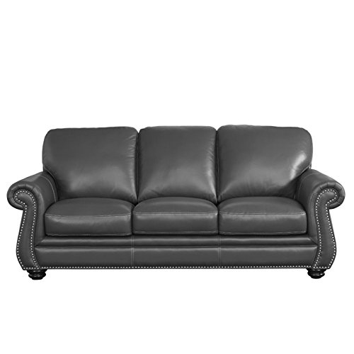 Abbyson Living Austin Leather Sofa in Gray for sale  Delivered anywhere in USA