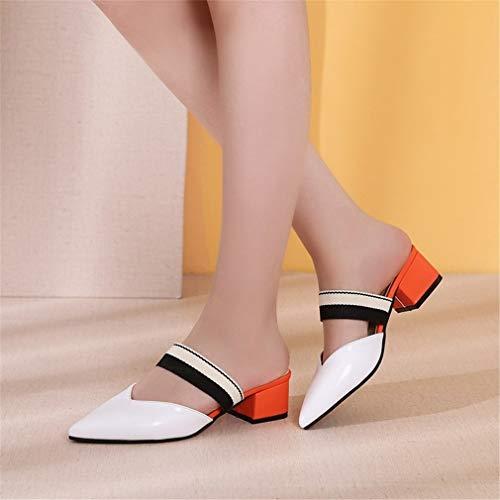 Talons À White Chaussons des Bas Chaussures avec Pointues YUCH pour Femmes Froids BAzqP8
