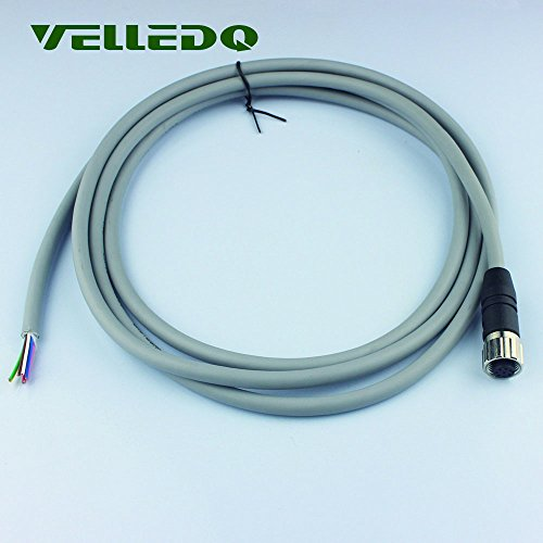 VELLEDQ Industrial Field-wireable M12 Sensor Connector 8-Pin Female Adaptor Plug Fittings with 2M/79 inch PVC Actuator Cable