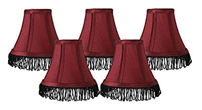 Urbanest Silk Bell Chandelier Lamp Shade with Fringe, 3-inch by 6-inch by 5-inch, Clip-on