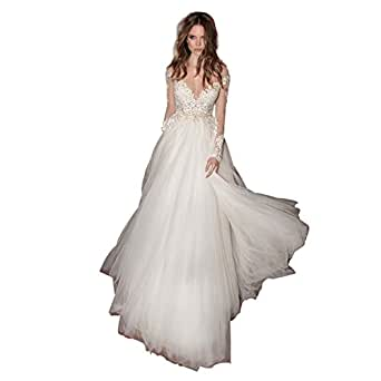 Banfvting Graceful Open Back Wedding Dresses Lace Sheer Bridal Gowns