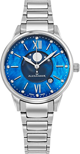 Alexander Monarch Vassilis Moon Phase Date Blue Mother of Pearl 35 MM Large Face Watch For Women – Swiss Quartz Stainless Steel Silver Band Elegant Ladies Fashion Designer Dress Watch A204B-02