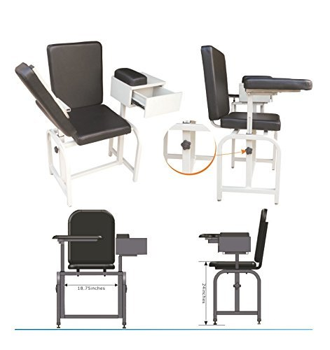 (Blood Drawing Chair-with drawer, Arm rest & cushioned seat)