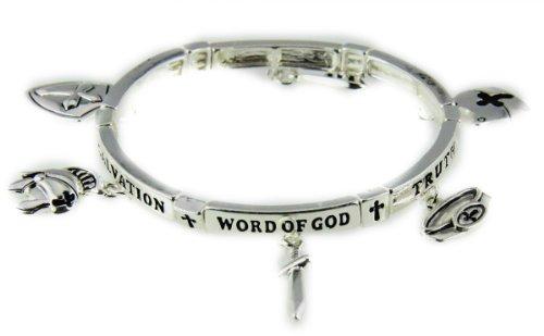 4031441 Armor of God Charm Bracelet Stretch Christian Scripture Word of God ()
