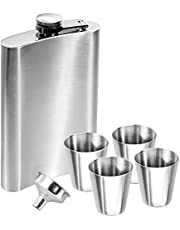 Anpro 10 oz Hip Flask Set - Stainless Steel Pocket Flask with Funnel and 4 Small Glasses