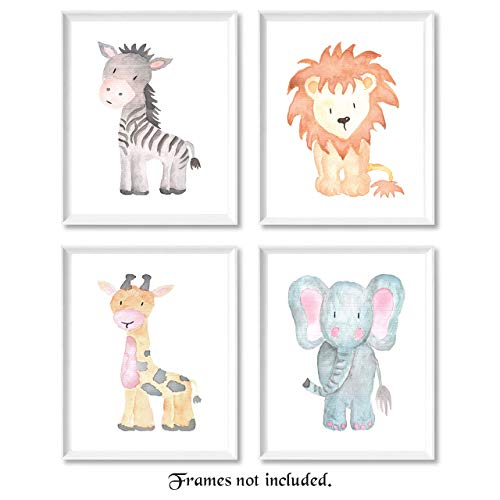 Baby Safari Animals Prints for Nursery  Set of 4 Four 8x10 Poster Pictures of Lion Elephant Zebra and Giraffe  Unframed Wall Art for Baby Room  Great Wall Art Decor Gifts