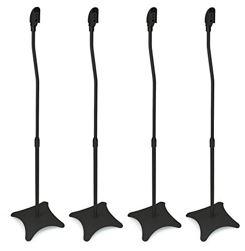 Surround Sound Stands - Mount-It! MI-1214 Speaker Stands for Home Theater 5.1 Channel Surround Sound System Satellite Speaker Stands Mounts, Rear and Front, 2 Pairs, 10 lb Capacity, Black