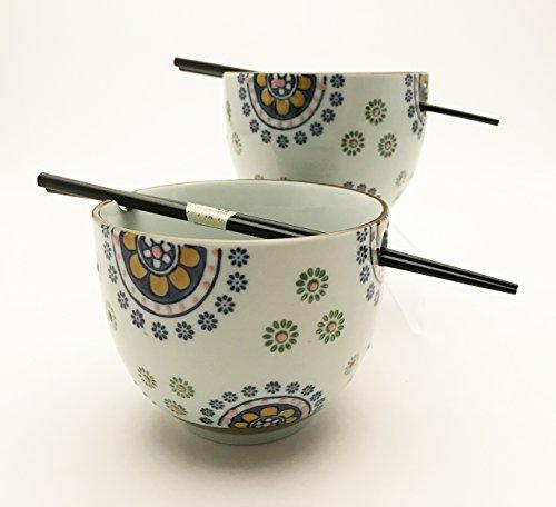 Japanese Dinnerware Ceramic Ramen Udon Noodle Bowl Set of 2 with Bamboo Chopsticks Gift Pack Good Quality (Kiku…