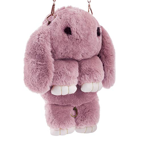 Ylucky Kids Rabbit Faux Fur Backpack Bunny Hare Shoulder Bags Plush Doll Crossbody Handbag Knapsack Wallet Purse Cellphone Coin Key Card Satchel Travel Pouch Beauty Fashion Dress Up Toy