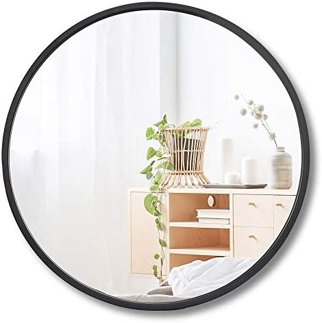 ZenStyle 18 Black Metal Framed Round Mirror Wall-Mounted for Entryways, Bathrooms, Living Rooms, 18-Inch