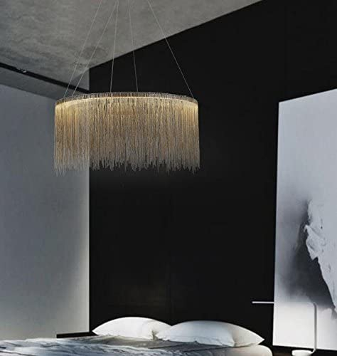 7PM Modern Round Chandelier Tassels Chrome Chain Pendant Light Contemporary LED Ceiling Lighting Fixture