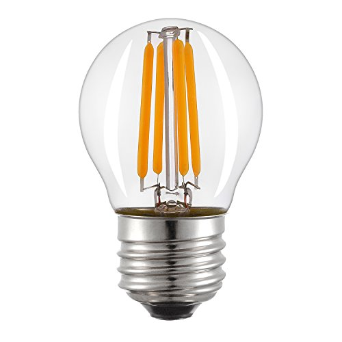 Keymit G14 (1.77 BY 3.07 IN) 4W UL Listed E492997 LED Filament Globe Clear Edison Light Chandelier Bulb - Dimmable - E26 Medium Base Vintage Style - 2700K - 40 Watt Equivalent 1PACK