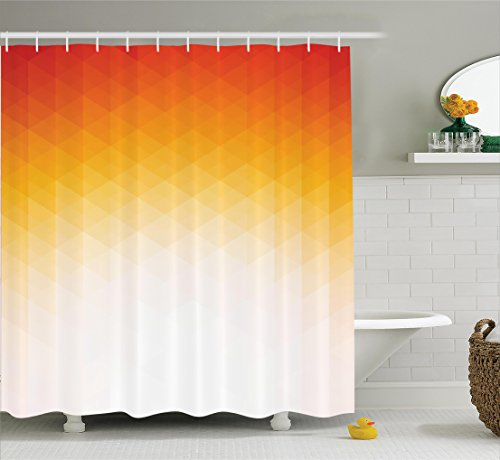 Geometric Decor Shower Curtain by Ambesonne, Ombre Geometric Triangle Shape by Digital Gradient Modern Print Retro Decor, Fabric Bathroom with Hooks, 69W X 70L Inches Long, Orange Yellow and Cream