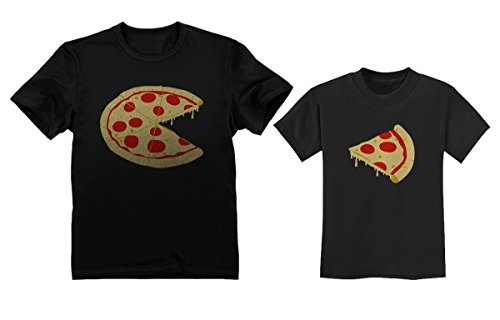 (Pizza Pie & Slice Toddler & Men's T-Shirt Matching Set Dad & Son Daughter Set Dad Black Medium/Toddler Black 2T)