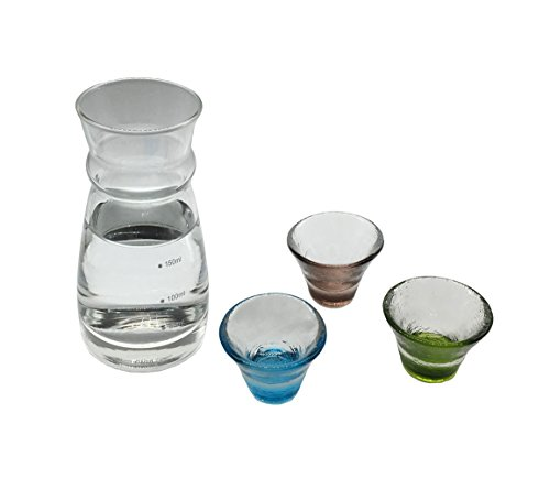 KCHAIN Glass Sake Set 1PC Bottle and 3PCS Cups with Different Color - Glass Sake Bottle