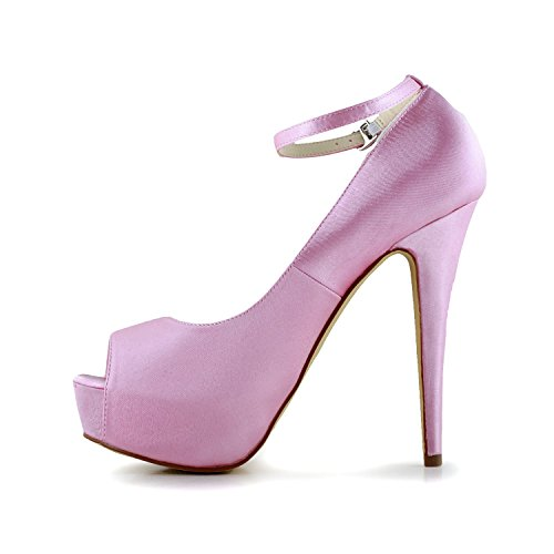 Peep Hochzeitsschuhe Pumps JIA Pink Plattform Brautschuhe JIA Satin Toe Absatz 20110C Damen Stiletto wfRxqgI