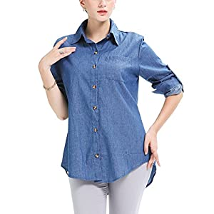 Jenkoon Women's Button Down Long Roll up Sleeves Shirts Jean Denim Loose Blouse Tops