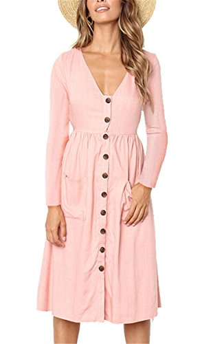 MIDOSOO Womens Casual Fit and Flare V Neck Long Sleeve Button Down Beach Skater Dress L-Pink XL ()