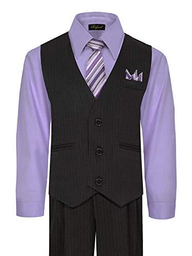 (iGirldress Big Boys' Special Occasion Pinstripe Vest Set Black/Lilac 12)