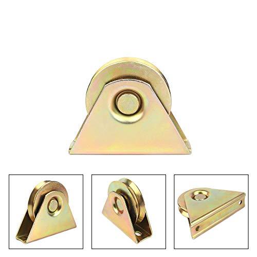 3 Inch Diameter Gold V Groove Wheel for Sliding Rolling Slide Chain Gear Rack Gate Track, Rigid Caster for Gate Frame,for Industrial Machines Carts 300KG