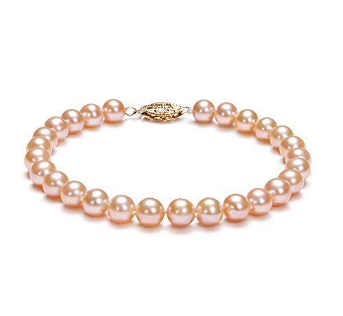 Pink 6-7mm AA Quality Freshwater Cultured Pearl Bracelet-7 in length