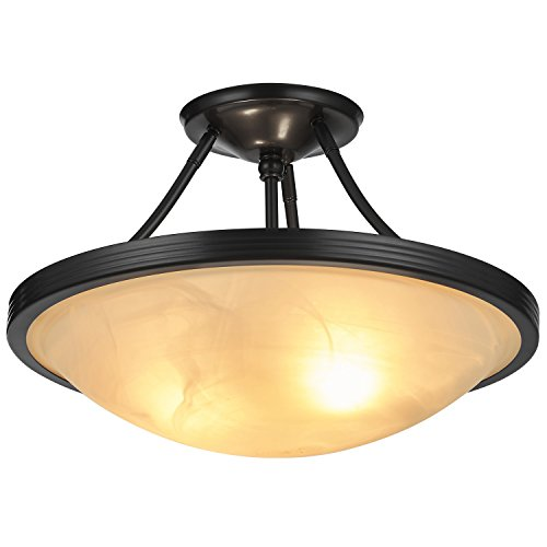 Doraimi 2 Light Semi Flush Ceiling Fixture with Brushed-Nickel Finish and Seeded Glass Shade(Black, UA06004)