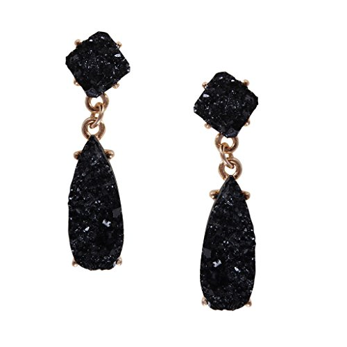 Humble Chic Simulated Druzy Post Dangles - Sparkly Square Teardrop Drop Earrings, Post Dangles - Black, (Black Stone Drop Earrings)