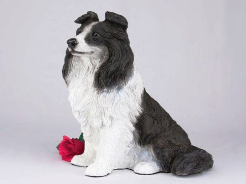 (Border Collie Cremation Pet Urn for secure installation of your beloved pet's ashes indoors or outdoors)