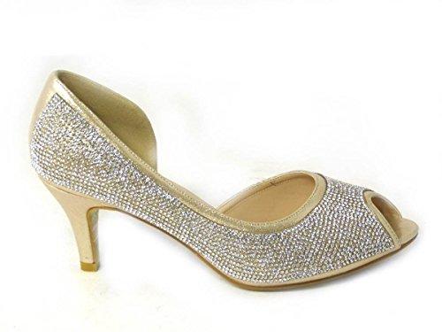 Chaussures 6779 haut talon Diamante Gold Basse Taille mariage Femme de mariage T4 Mid Prom Cour SqOvvR