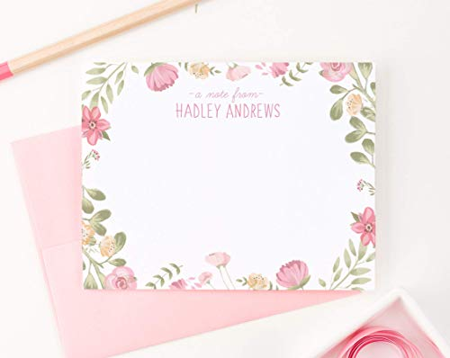 Girls Personalized Stationary Set with Envelopes FLAT NOTE CARDS, Pink Greenery Personalized Stationery Set for Girls Note Cards set, Floral Stationary Cards for Girls, Choice of Colors and Quantity