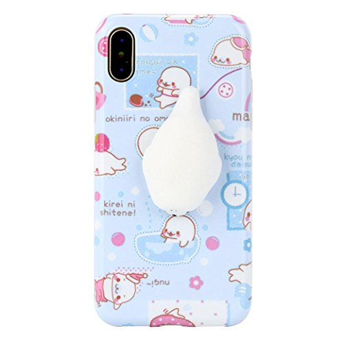 Price comparison product image Mchoice For iPhone X 5.8 inch, New Squishy 3D Squeeze Cute Mochi Toy Silicone Back Soft Case Cover for iPhone X 5.8 inch (J)