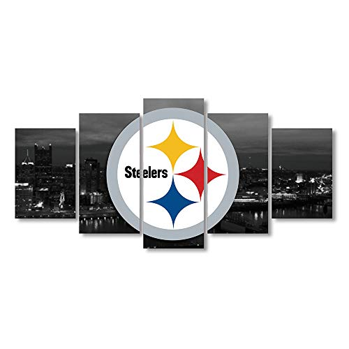 (5 Panel Pittsburgh Steelers Canvas Prints Painting Wall Art Sports Home Decor Artwork for Living Room Without Frame)