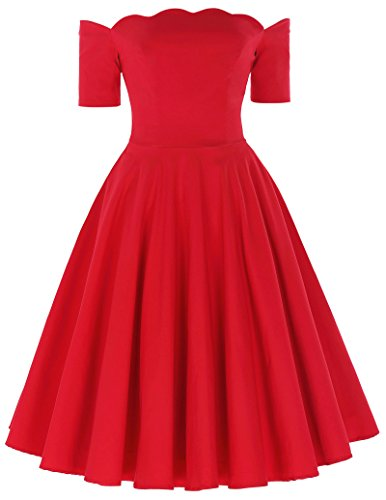 50s Style Off Shoulder Swing Dress for Christmas Scalloped Dresses(Red, M)