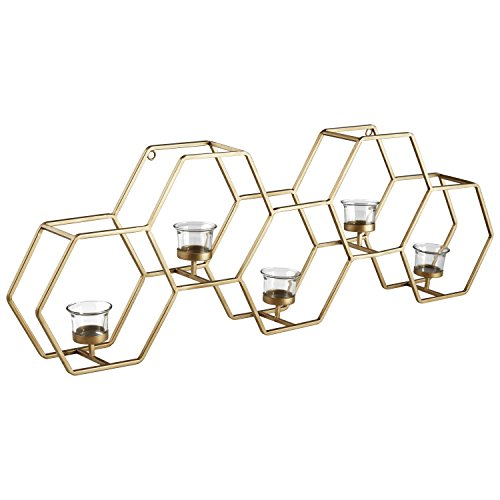 (Rivet Modern Metal Wall Mounted Hexagon Tealight Candle Holder Decor - 11.5
