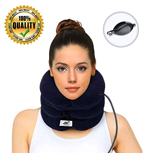 Traction Device – Improve Spine Alignment to Reduce Neck Pain – Cervical Pillow with Collar Adjustable | Bonus Extra Pump ()