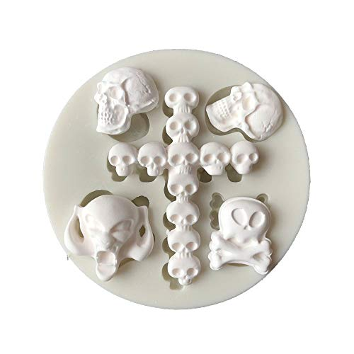 1 piece DIY Skeleton Head Skull Silicone Mold Styling Candy Jelly Mould Fondant Cake Decorating Pastry Baking Tools -
